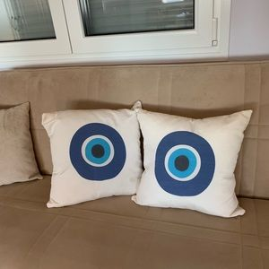 Set of two evil eye pillows imported from Greece